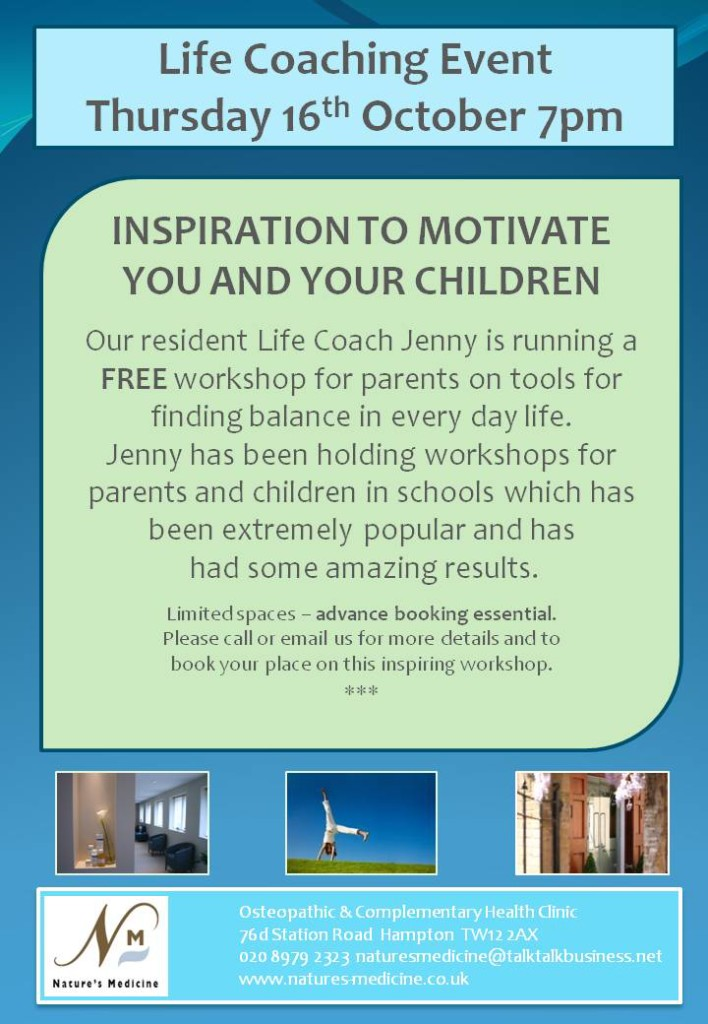 Parent and child leaflet with life coaching event