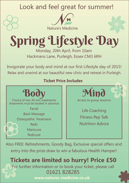 Lifestyle Day – 20th April 2015 at the Purleigh Clinic